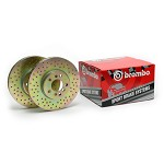 Brembo Drilled Brake Rotors Set - 2008-12 Mitsubishi EVO X (Front Pair)