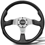 MOMO Steering Wheel - Champion Black Leather, Suede Insert, Silver Spoke 350mm