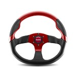 MOMO Steering Wheel - Commando Black Leather, Blue Leather Insert 350mm