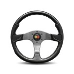 MOMO Steering Wheel - Devil Black Urethane, Black Leather Insert 350mm