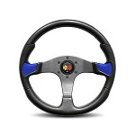 MOMO Steering Wheel - Devil Black Urethane, Blue Leather Insert 350mm