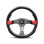 MOMO Steering Wheel - Devil Black Urethane, Red Leather Insert 350mm