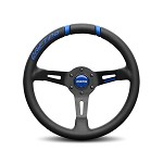 MOMO Steering Wheel - Drifting 33 - Black Leather, Blue Inserts, Black Spoke 330mm