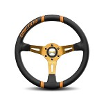 MOMO Steering Wheel - Drifting - Black Leather, Orange Inserts, Orange Spoke 350mm