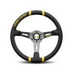 MOMO Steering Wheel - Drifting - Black Leather, Yellow Inserts, Black Spoke 350mm