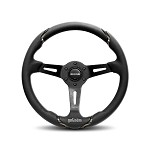 MOMO Steering Wheel - Gotham - Black Leather, Black Spoke 350mm