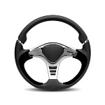 MOMO Steering Wheel - GTR 2 - Black Leather, Silver Spoke 350mm