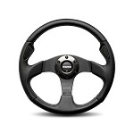 MOMO Steering Wheel - Jet Black Leather, Airleather Insert, Black Spoke 350mm
