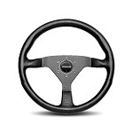 MOMO Steering Wheel - Monte Carlo - Black Leather, Black Spoke 350mm