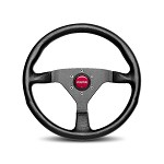 MOMO Steering Wheel - Monte Carlo - Black Leather, Black Spoke, Red Stitch 350mm