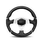 MOMO Steering Wheel - Millenium - Black Leather, Silver Spoke 350mm