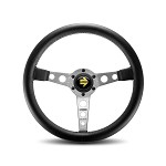 MOMO Steering Wheel - Prototipo - Black Leather Silver Spoke 350mm