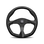MOMO Steering Wheel - Quark - Black Urethane, Black Leather Insert 350mm