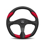 MOMO Steering Wheel - Quark - Black Urethane, Red Leather Insert 350mm