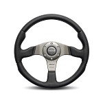MOMO Steering Wheel - Race - Black Leather Silver Spoke 350mm