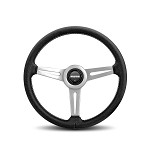 MOMO Steering Wheel - Retro - Black Leather, Silver Spoke 360mm