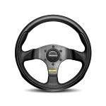 MOMO Steering Wheel - Team - Black Leather, Black Spoke 300mm