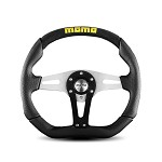 MOMO Steering Wheel - Trek Black - Black Leather, Suede Insert 350mm