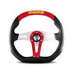 MOMO Steering Wheel - Trek Red - Black Leather, Suede Insert 350mm