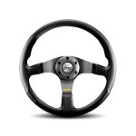 MOMO Steering Wheel - Tuner - Black leather, Silver Spoke 350mm