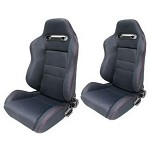 NRG Type R Style Black Seats w/ Sliders (Sold in Pair)