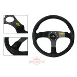 Personal Steering Wheel - Fitti Corsa 350mm Black Suede w/ Black Spoke Yellow Stitch & Yellow Horn Button