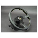Personal Steering Wheel - Neo Actis 350mm Black Leather w/ Black Spoke Yellow Stitch & Yellow Horn Button