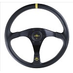 Personal Steering Wheel - Rally Trophy 350mm Black Leather w/ Black Spoke Yellow Stitch & Yellow Horn Button