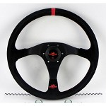 Personal Steering Wheel - Rally Trophy 350mm Black Suede w/ Black Spoke Red Stitch & Red Horn Button