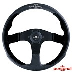 Personal Pole Position 350mm Steering Wheel - Black Leather & Suede w/Black Spokes