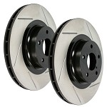 STOPTECH Power Slot Slotted Rotors - 2008-12 Mitsubishi Lancer Evo X (Front Pair)