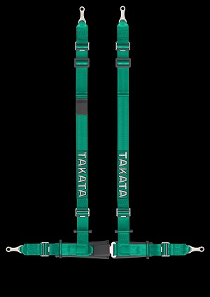TAKATA Drift II bolt - 4pt bolt-on (buckle on right lap belt) - (Green)