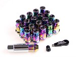 ZERG LUG NUTS 1.25 7 SIDED EXTENDED WITH CAP AND KEY NEO CHROME