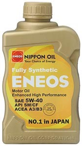 ENEOS Synthetic Motor Oil 5W-40 (6 Quarts)