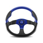 MOMO Steering Wheel - Commando Black Leather, Red Leather Insert 350mm