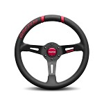 MOMO Steering Wheel - Drifting 33 - Black Leather, Red Inserts, Black Spoke 330mm