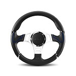MOMO Steering Wheel - Millenium Sport - Black Leather, Silver Spoke Blue 350mm