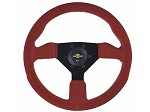 Personal Steering Wheel - Neo Grinta 330mm Red Suede w/ Black Spoke Yellow Stitch & Yellow Horn Button