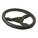 Personal Steering Wheel - Neo Grinta 330mm Black Leather w/ Black Spoke Yellow Stitch & Yellow Horn Button