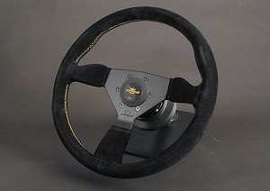 Personal Steering Wheel - Neo Grinta 350mm Black Suede w/ Black Spoke Yellow Stitch & Yellow Horn Button