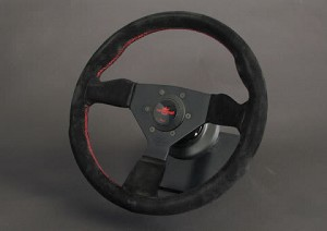 Personal Steering Wheel - Neo Grinta 350mm Black Suede w/ Black Spoke Red Stitch & Red Horn Button