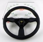 Personal Steering Wheel - Neo Grinta 350mm Black Leather w/ Black Spoke Yellow Stitch & Yellow Horn Button