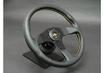 Personal Steering Wheel - Neo Actis 330mm Black Leather w/ Black Spoke Yellow Stitch & Yellow Horn Button