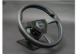 Personal Steering Wheel - Neo Eagle 340mm Black Leather w/ Black Spoke Blue Stitch & Blue Horn Button