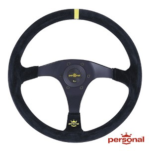 Personal Steering Wheel - Rally Trophy 350mm Black Suede w/ Black Spoke Yellow Stitch & Yellow Horn Button