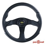 Personal Steering Wheel - Thunder 350mm Black Perforated Leather w/ Black Spoke Black Stitch & Yellow Horn Button
